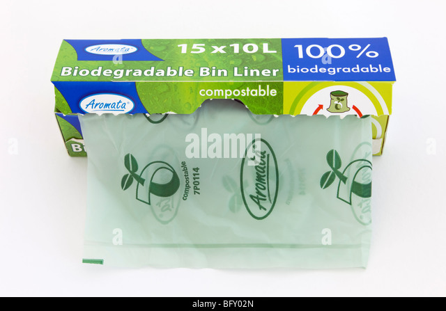 Britain, UK. Box dispenser of Aromata 100% biodegradable and compostable bin liners for food waste on a plain white - Stock Image