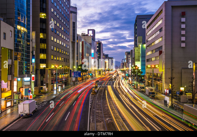 Hiroshima, Japan downtown at Aioi-dori Avenue. - Stock Image
