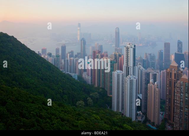 View from The Peak, Shan Teng, Hong Kong, China. - Stock Image