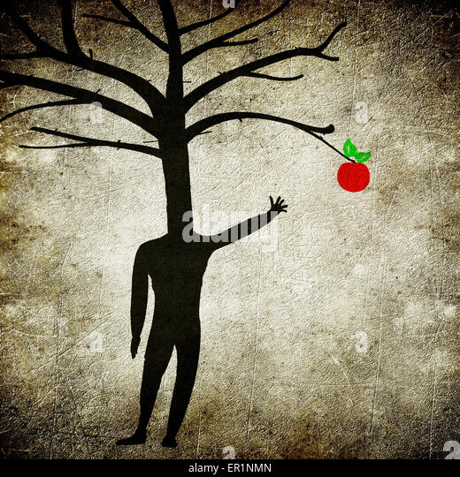mental illness concept digital illustration with man tree and apple - Stock-Bilder