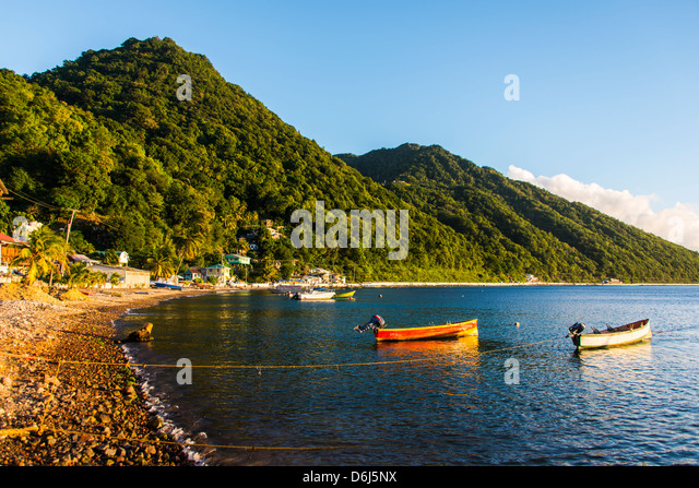 Fishing boats in the Bay of Soufriere, Dominica, West Indies, Caribbean, Central America - Stock Image