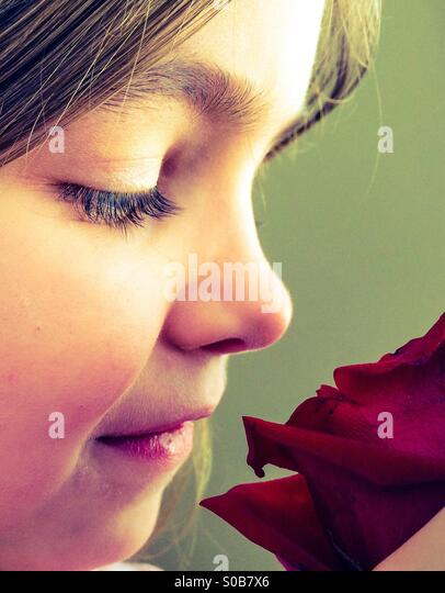 Girl and a Rose - Stock Image