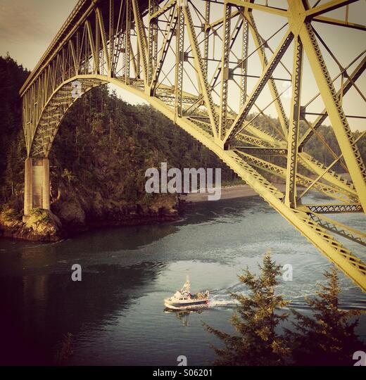 Deception Pass Bridge, Whidbey Island, Washington, Fishing boat - Stock Image