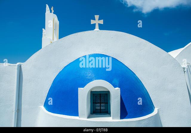Orthodox Church near Oia, Santorini, Greece - Stock Image