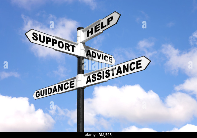 Help Support Advice Assistance and Guidance on a signpost - Stock Image