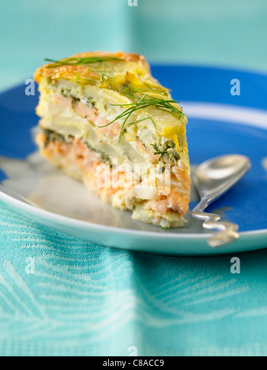 Salmon and dill omelette cake - Stock Image