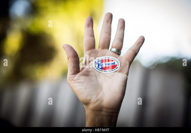 I Voted sticker. - Stock-Bilder