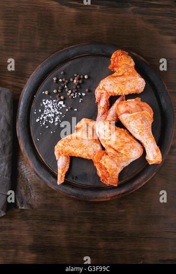 Raw Marinated chicken for BBQ - Stock Image