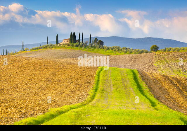 Tuscany landscape, Val d'Orcia, Italy - Stock Image