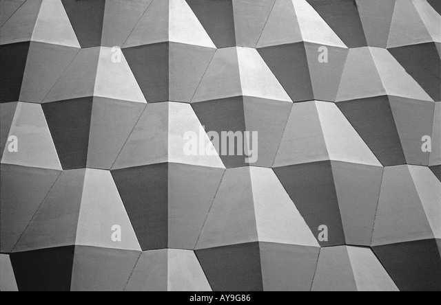 Close up abstract view of pattern on architectural building  horizontal Santa Monica convention center - Stock Image