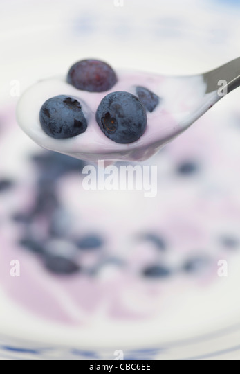 Close up of blueberries and yogurt - Stock Image