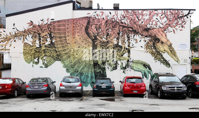 Wall painting at the Boulevard Saint Laurent, Montreal, Quebec Province, Canada - Stock Image