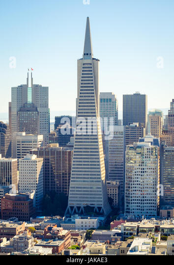 An aerial view of the Transamerica Pyramid and the Financial District of San Francisco, California, as seen from - Stock Image