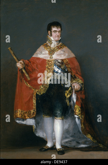 Portrait of King Ferdinand VII of Spain, 1815. Artist: Goya, Francisco, de (1746-1828) - Stock Image
