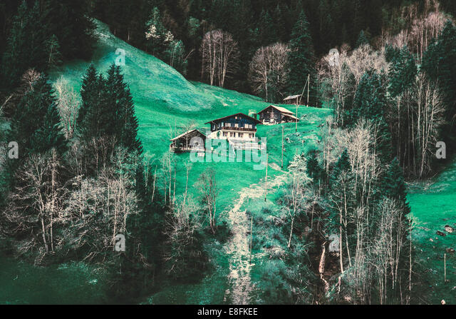 Switzerland, Grindelwald, Alps Houses - Stock Image
