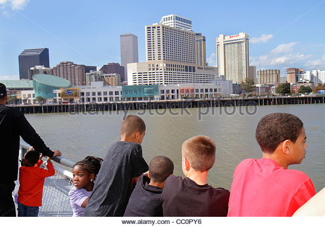 Louisiana New Orleans Mississippi River Algiers Canal Street Ferry CCCD ferryboat navigation public transportation - Stock Image