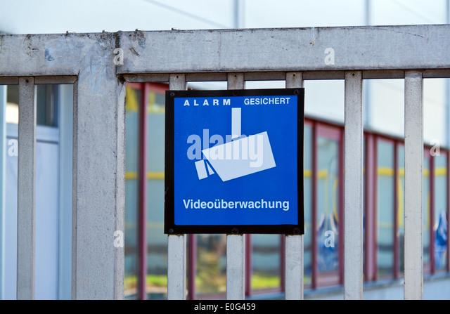 The working area of a company is supervised with video., Das Betriebsgelaende einer Firma wird mit Video ueberwacht. - Stock Image