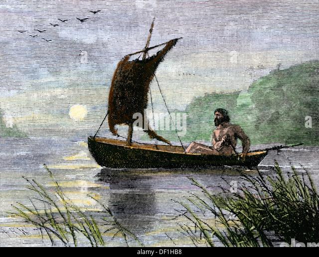 Prehistoric navigation with a skin sail. - Stock Image