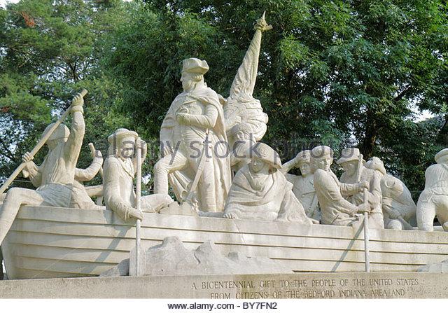 Pennsylvania Bucks County Delaware River Washington Crossing the Delaware Monument Indiana Limestone American Revolution - Stock Image
