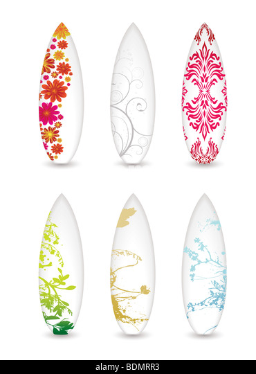 collection of six surfboards with abstract patterns and shadow - Stock-Bilder