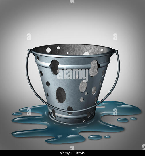 Equipment problems and design flaw failure concept as an empty inefficient,metal pale with holes and water spilled - Stock Image