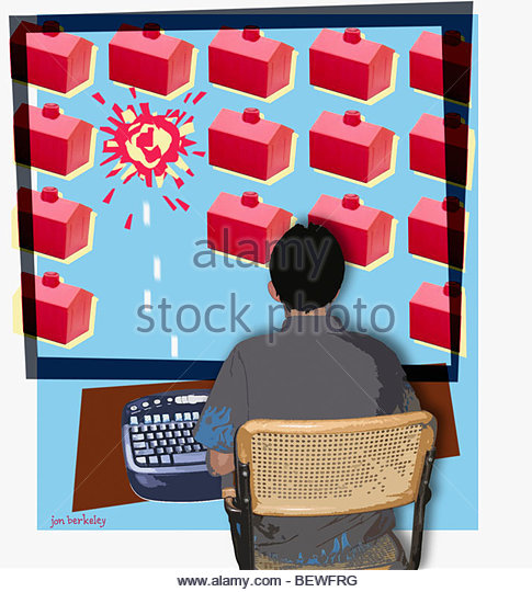 House exploding on computer monitor - Stock Image