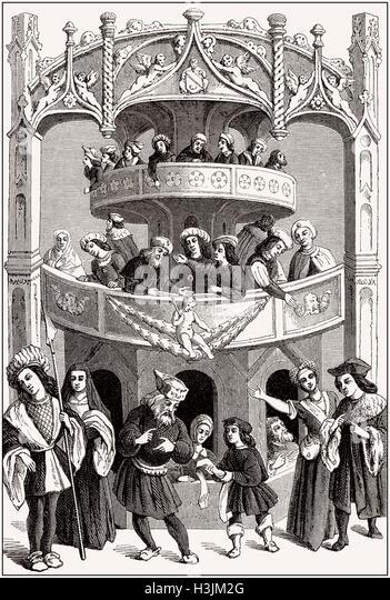 Theater in the 16th century - Stock-Bilder
