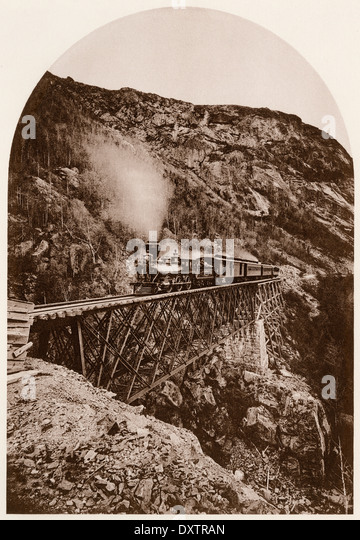 Portland & Ogdensburg Railroad on the Willey-Brook Bridge in the White Mountains of New Hampshire, 1870s. - Stock-Bilder