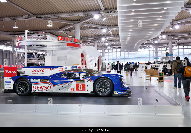 Denso Toyota Hybrid TS040 race car at Toyota Mega Web city showcase at Odaiba, Tokyo, Japan - Stock Image