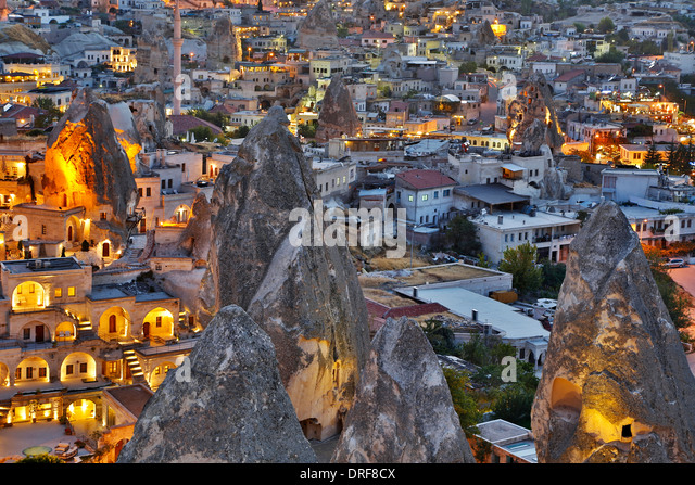 Fairy chimneys and Goreme, Cappadocia, Turkey - Stock Image