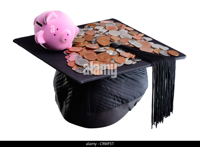 Piggy bank and mortar board concept - Stock Image