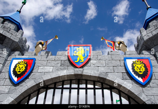 Legoland Florida castle at Lego Kingdoms which houses The Dragon ride, Winter Haven, FL - Stock Image