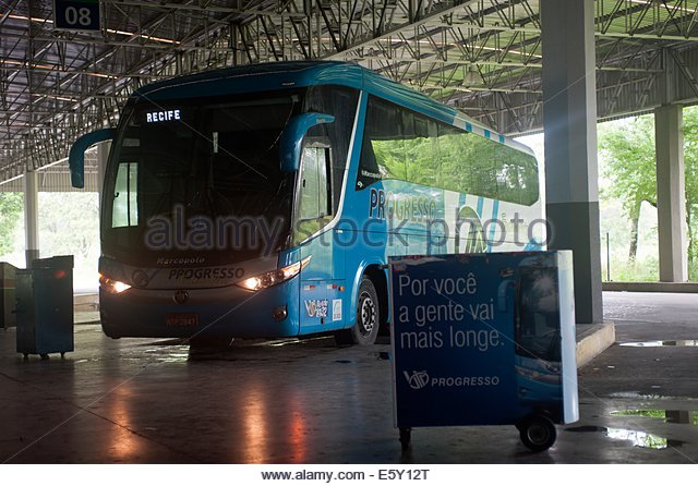 Recife Brazil Progresso intercity bus at Recife Autoviaria. - Stock-Bilder