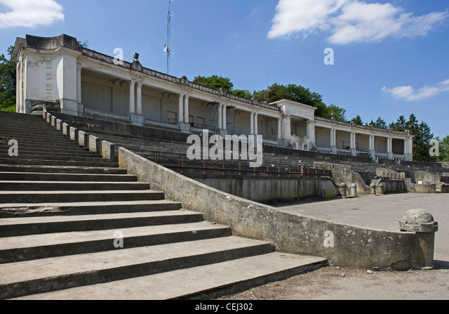 The stade des jeux at the Citadel / Castle of Namur along the river Meuse, Belgium - Stock Image
