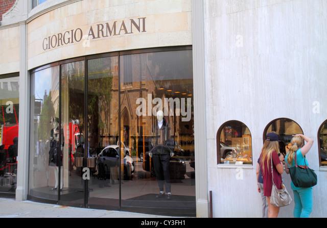 Boston Massachusetts Back Bay Newbury Street high-end luxury name-brand shopping Giorgio Armani fashion - Stock Image