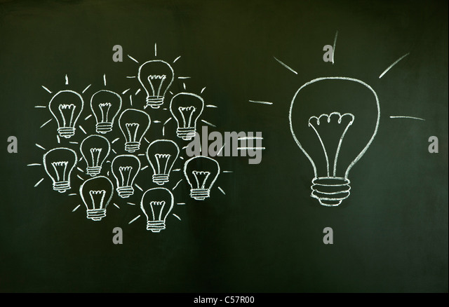 Many small ideas equal a big one, illustrated with chalk drawn light bulbs on a blackboard. - Stock-Bilder