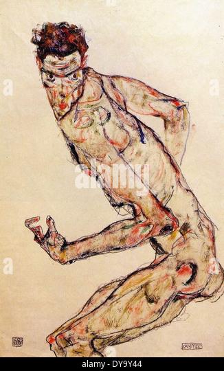 Egon Schiele Zombie Self Portrait - Stock Image