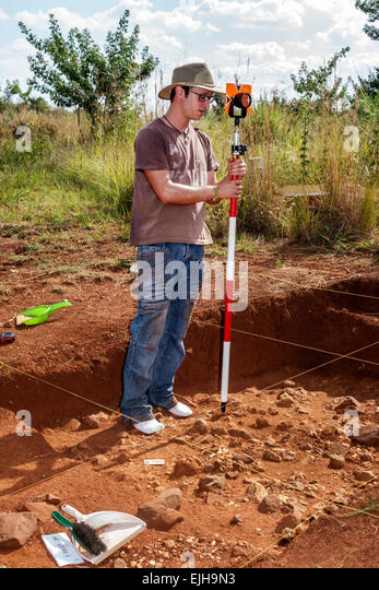 Johannesburg South Africa African Maropeng hominin site human ancestor Cradle of Humankind World Heritage Site archaeologist - Stock Image