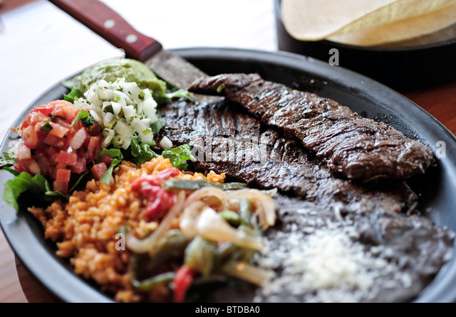 Close up view of the Carne Asada taco plate at the Bear Tooth Grill retaurant in Anchorage, Southcentral Alaska - Stock Image