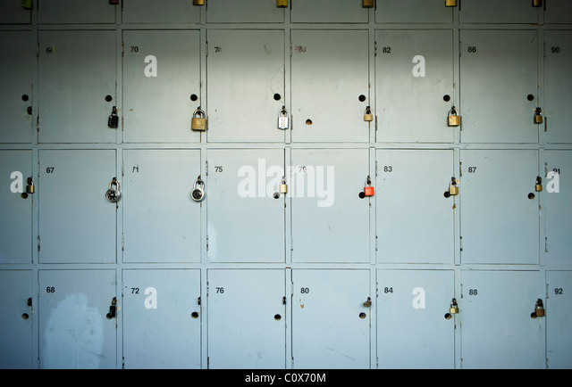 Old wooden lockers in corridor - Stock-Bilder