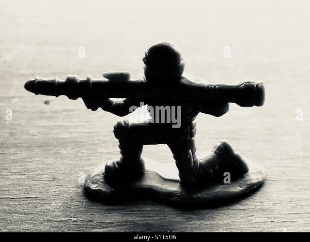 Army man with bazooka. - Stock Image