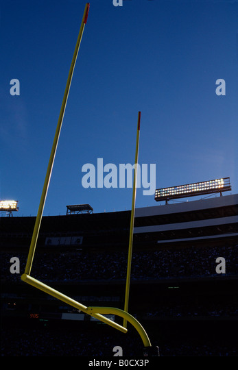 American football goalposts. - Stock Image