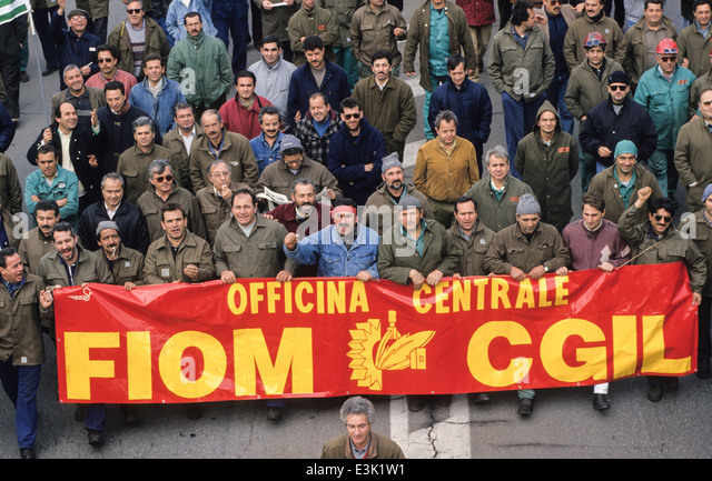 ilva workers demonstration,1993 - Stock-Bilder