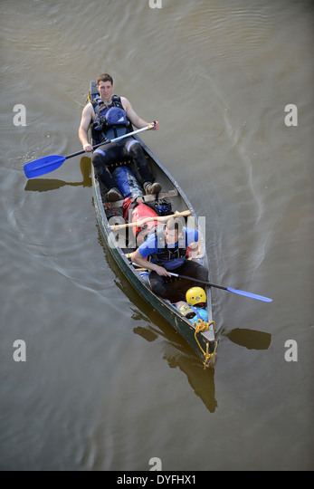 Men canoeing canoe River Severn Uk - Stock Image
