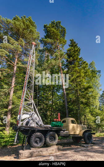 URB drilling rig to make holes for dynamite shots in geophysical surveys, Museum of Oil and Gas Industry in Bobrka, - Stock Image