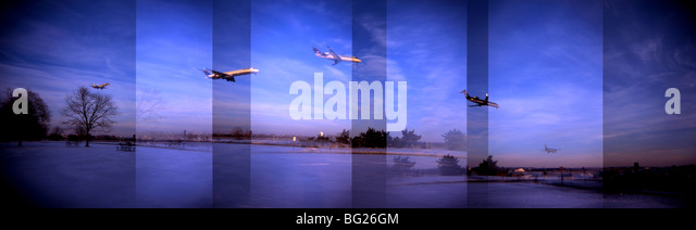 A panoramic view of commercial aircraft landing at Reagan National Airport.  - Stock Image