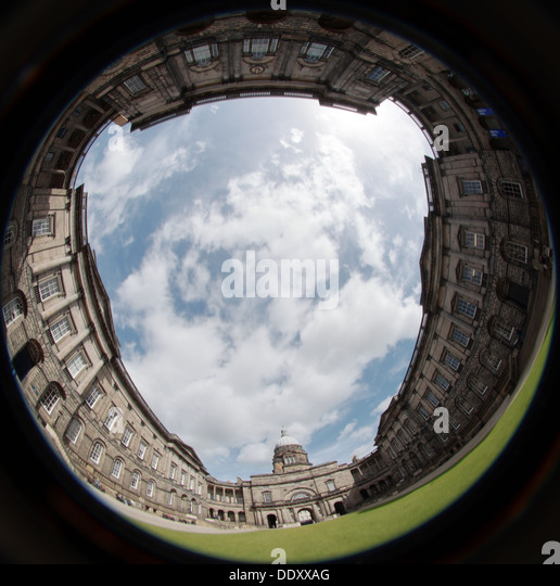 Fish eye shot of Edinburgh University South College Lothian Scotland UK wide view - Stock Image