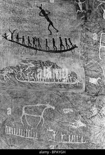 Ancient mural paintings in Khakassia. 1988. - Stock-Bilder