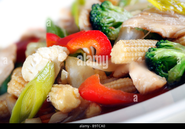 Chicken and vegetables - Stock Image