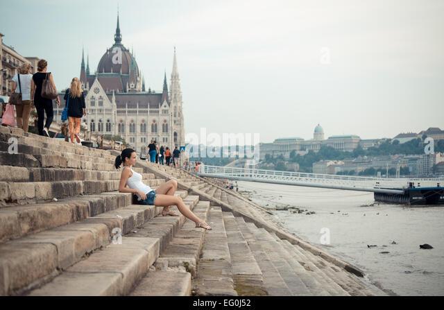Hungary, Budapest, Tourist in city - Stock-Bilder